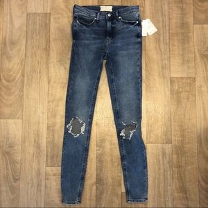 Free People turquoise skinny jeans size 26 NWT